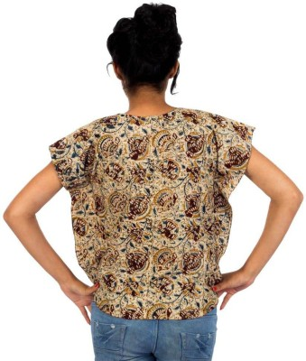 HastaVarna Studio Casual, Party, Lounge Wear Butterfly Sleeve Self Design Women's Brown Top