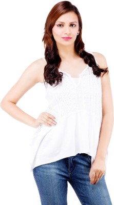 Centiaro Casual Sleeveless Solid Women's White Top