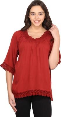 Nordic Bazaar Casual 3/4 Sleeve Solid Women's Red Top