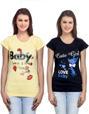 IndiWeaves Casual Short Sleeve Printed Girl's Yellow, Black Top