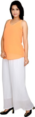 Angel Creations Party Sleeveless Solid Women's Orange Top