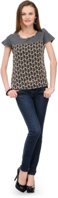 1OAK Casual Short Sleeve Printed Women's Grey Top