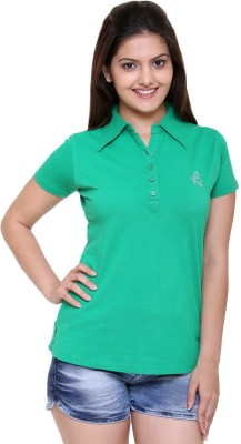 In Love Solid Women's Polo Neck Green T-Shirt