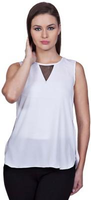 Stylestone Casual, Formal, Lounge Wear, Beach Wear, Party Sleeveless Solid Women's White Top