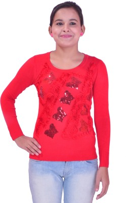 Krazzy Collection Festive Full Sleeve Self Design Women's Red Top