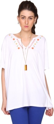 Bedazzle Casual Short Sleeve Embroidered Women's White Top at flipkart