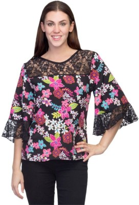 Tara Lifestyle Casual 3/4 Sleeve Printed Women's Multicolor Top