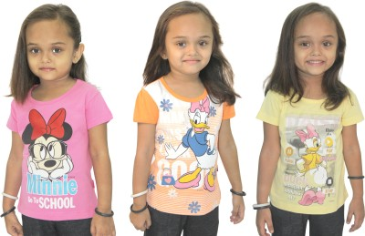 Disney Casual, Party Short Sleeve Graphic Print Girl's Yellow, Pink, Orange Top