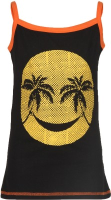 Cool Quotient Casual Sleeveless Printed Girl's Black Top