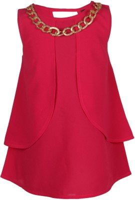 Chicabelle Casual Sleeveless Solid Girl's Red Top