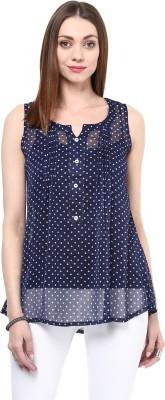shwetna Casual Sleeveless Polka Print Girl,s Blue Top