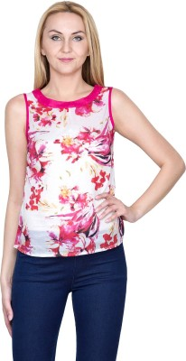 Golden Couture Casual, Festive, Formal, Lounge Wear, Party Sleeveless Floral Print Women's Multicolor Top