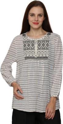 Prakum Casual 3/4 Sleeve Striped Women,s White Top