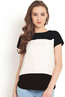 Indicot Casual Short Sleeve Solid Women's White, Black Top