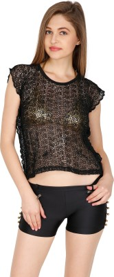 Madaam Party, Casual, Beach Wear, Lounge Wear Sleeveless Embroidered Women's Black Top