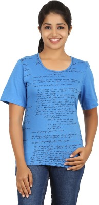 FICTIF Casual Short Sleeve Printed Women's Blue Top