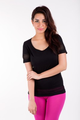 De Moza Casual Short Sleeve Solid Women's Black Top