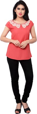 SFDS Casual Short Sleeve Solid Women's Pink Top