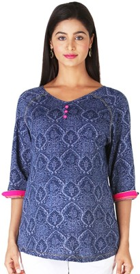 Morph Maternity Casual 3/4 Sleeve Solid Women's Blue Top
