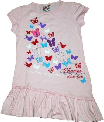 Mankoose Casual Short Sleeve Printed Girl's Pink Top