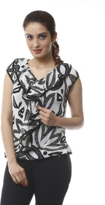 Lynda Casual Sleeveless Printed Women's Black, White Top