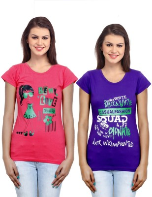 IndiWeaves Casual Short Sleeve Printed Girl's Pink, Purple Top