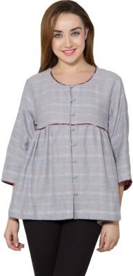 Vasstram Casual 3/4 Sleeve Striped, Checkered Women's Grey Top
