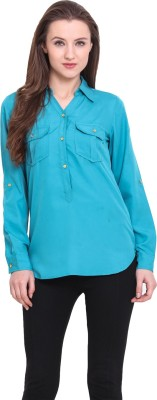 Sweet Lemon Casual Full Sleeve Solid Women's Blue Top