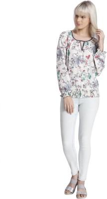 Vero Moda Casual Balloon Sleeve Floral Print Women's White Top