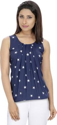 DIEU Casual Sleeveless Printed Women's Blue, White Top