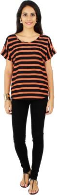 20Dresses Casual Short Sleeve Striped Women's Orange, Black Top