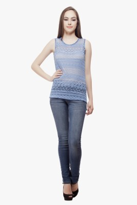 Miss Queen Casual Sleeveless Solid Women's Blue Top