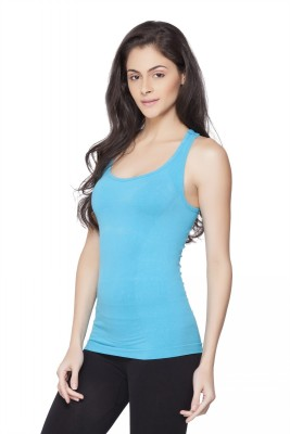 Channel Nine Casual Sleeveless Solid Women's Light Blue Top