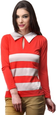 Milimoto Casual Full Sleeve Striped Women's Red, White Top