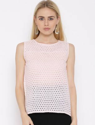 VAAK Casual Sleeveless Self Design Women's Pink Top