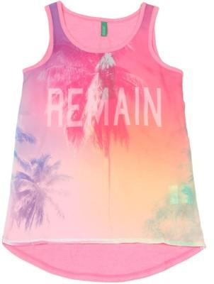 UCB Casual Sleeveless Printed Girl's Pink Top