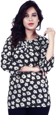 Fashionable Casual 3/4th Sleeve Printed Women's Black Top at flipkart