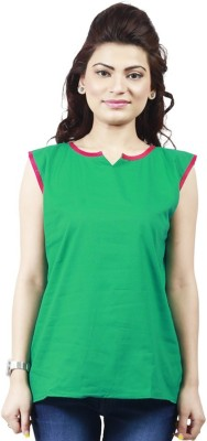 Ambitione Women,s, Girl's Solid Casual Green Shirt