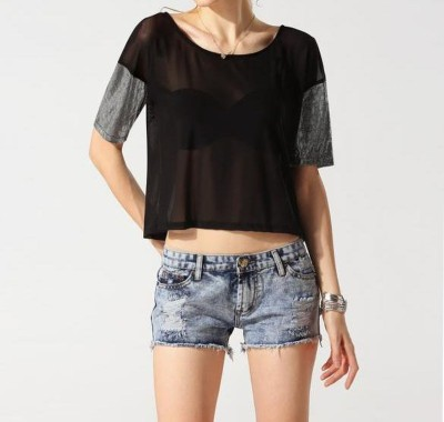 Symbol Couture Party, Lounge Wear Short Sleeve Solid Women's Black Top