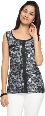 Francisca & Dominique Casual Sleeveless Printed Women's Black Top