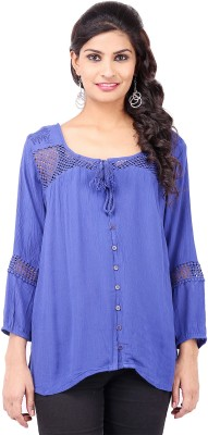 Pear Blossom Casual Full Sleeve Solid Women's Blue Top
