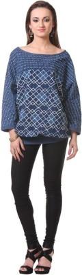 Oghaindia Casual Full Sleeve Checkered Women's Blue Top