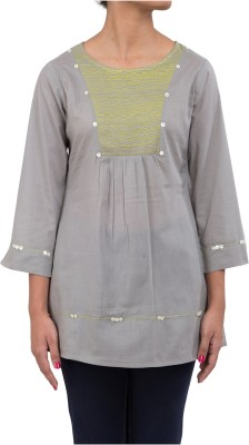 Ratan Jaipur Casual 3/4 Sleeve Embroidered Women's Grey Top