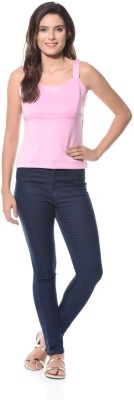 XNIVA Casual Sleeveless Solid Women's Pink Top