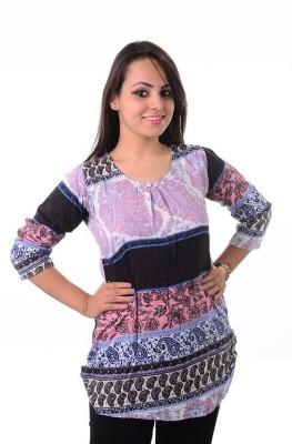 Shivi's Designer Studio Casual 3/4 Sleeve Printed Women's Blue Top