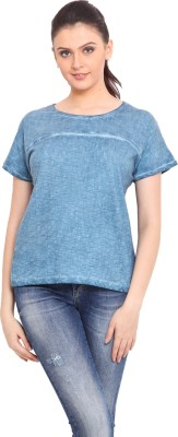 Trend Arrest Casual Short Sleeve Solid Women's Blue Top