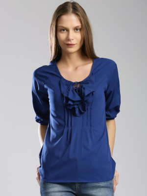 Dressberry Casual 3/4 Sleeve Solid Women's Blue Top