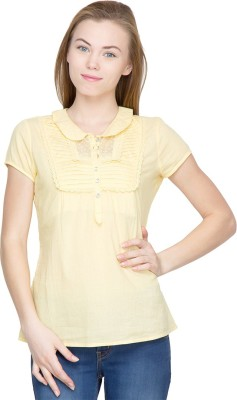 Latin Quarters Casual Short Sleeve Self Design Women's Gold Top
