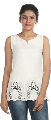 Zoe Fashions Formal Sleeveless Embroidered Women's White Top