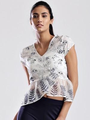 Dressberry Casual Cap Sleeve Printed Women's White Top at flipkart
